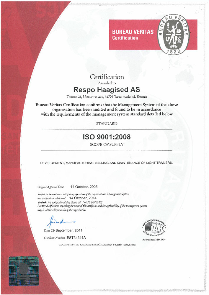 сертификат ISO 9001 на прицепы для легковых автомобилей